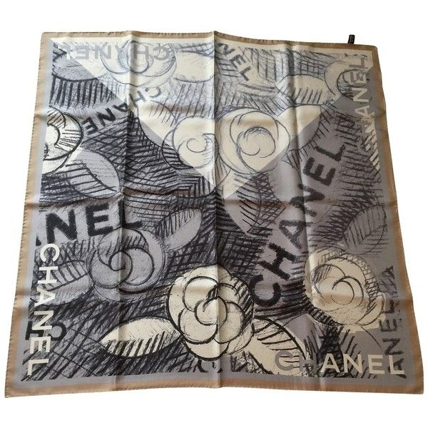 Pre-owned silk scarf (€299) ❤ liked on Polyvore featuring accessories, scarves, black, silk scarves, chanel, chanel scarves, pure silk scarves and silk shawl