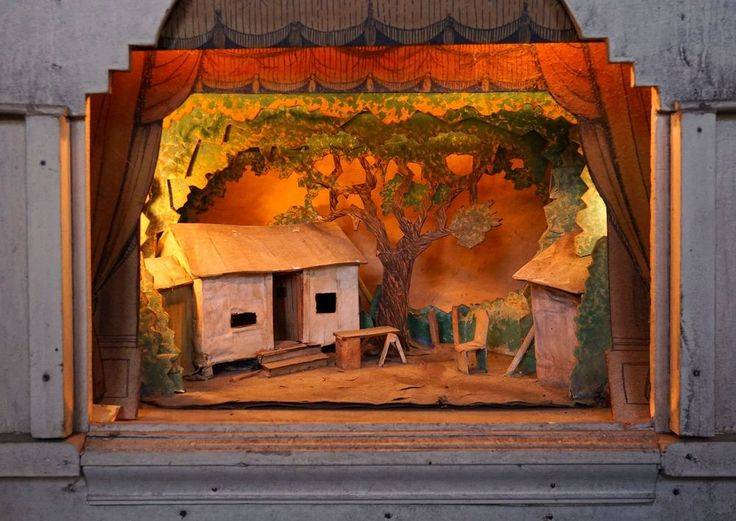 1950s Toy Theater Theatre Diorama Theater Hand Made Vintage Model Paper
