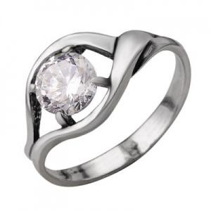 Кольцо 390 Основа - мельхиор, серебрение Вставка - фианит