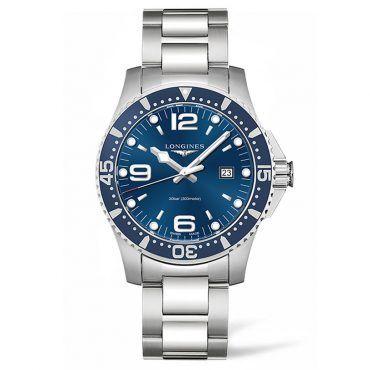 L38404966 Ανδρικό quartz ρολόι LONGINES HydroConquest με ατσάλινο μπρασελέ, μπλε καντράν στεφάνη και ημερομηνία | Ρολόγια ΤΣΑΛΔΑΡΗΣ στο Χαλάνδρι #hydroconquest #ημερομηνια #longines #ρολόι