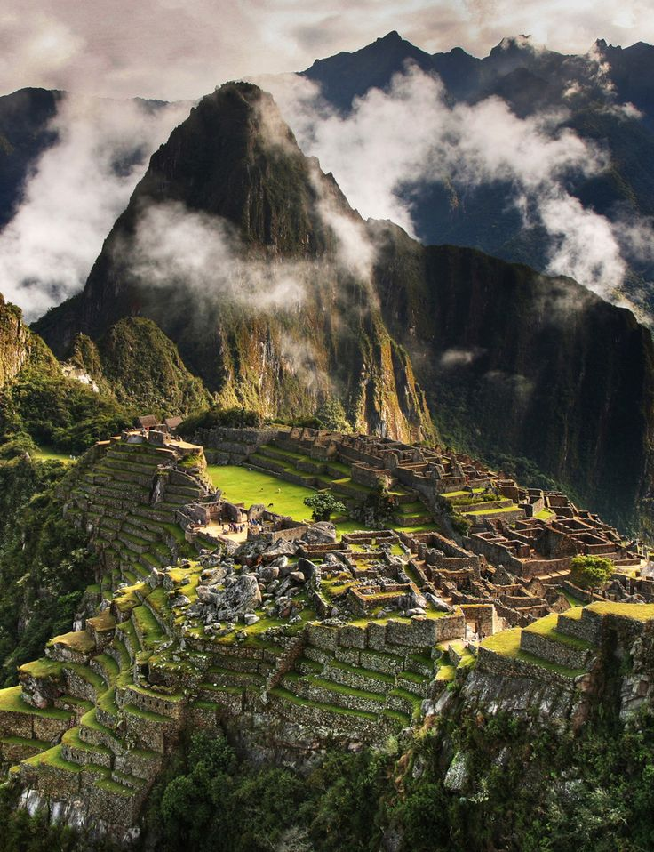This place is located in Machu Picchu, Peru. Everything was built out of stone by the Incas and is still there.
