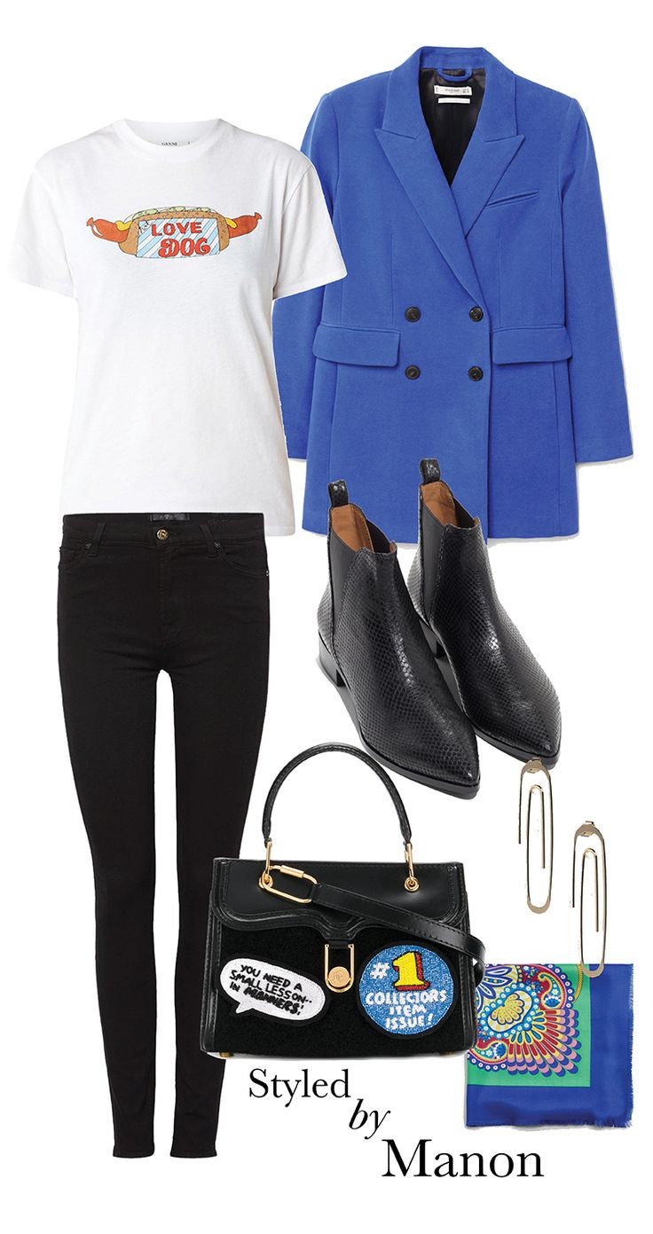 Ankle boots, white shirt, black skinny jeans & blue blazer and statement bag - Styled By Manon