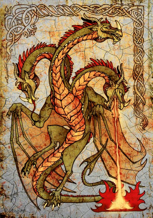 Wyvern Gorynych by ~NIARKAN -This would be such an interesting tapestry. I can imagine it in a great room in a castle, where the nobles would plan their wars. And when they would look at it, they would be reminded of the battle for which tapestry symbolizes.