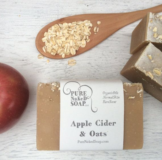 Organic Soap  Apple Cider & Oats Bar Soap  All by PureNakedSoap