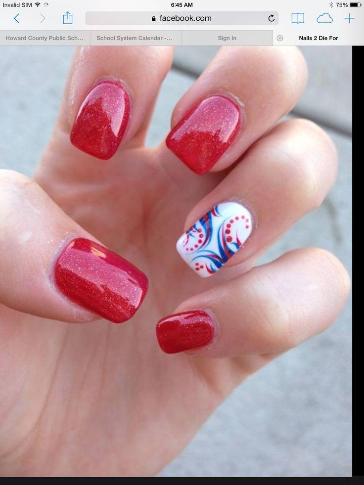 4th of july fingernails