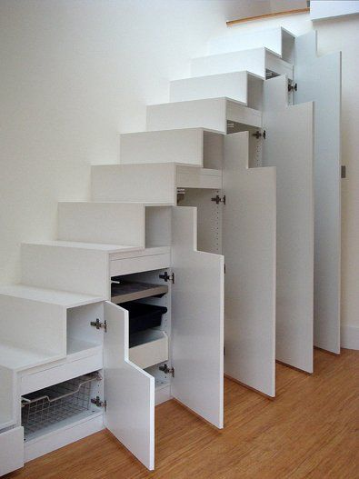 Integrated storage under stairs, making the use of all space available