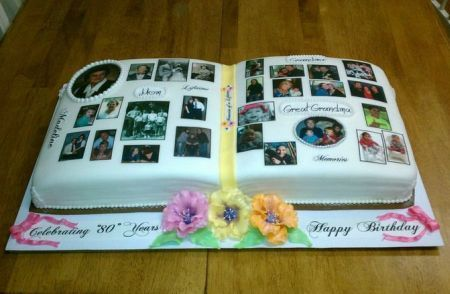Picture Book 80th Birthday Cake Idea.  See more cake and party ideas at one-stop-party-ideas.com.: