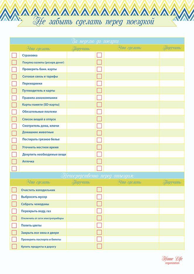 Планирование путешествий: Контрольный список: Не забыть сделать перед поездкой