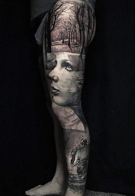 3D full leg tattoo - 60 Incredible Leg Tattoos