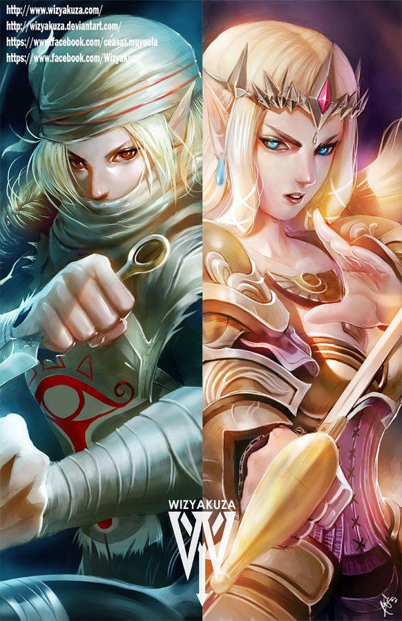Princesa Zelda y Sheik - The Legend of Zelda: Ocarina of Time - impresión Digital de 11 x 17