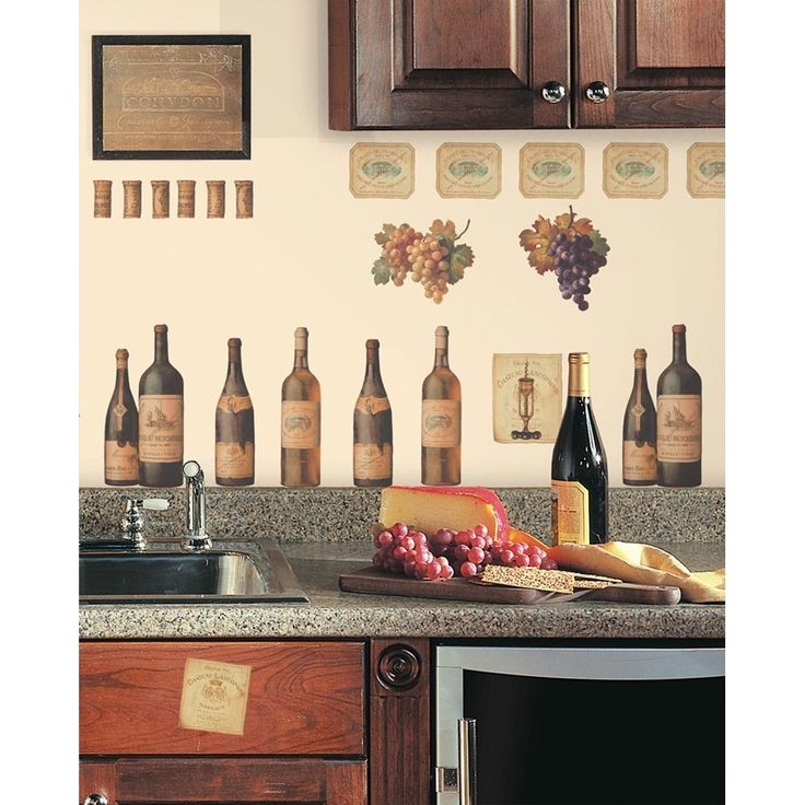 New wine tasting wall decals grapes bottles stickers for Wine home decorations
