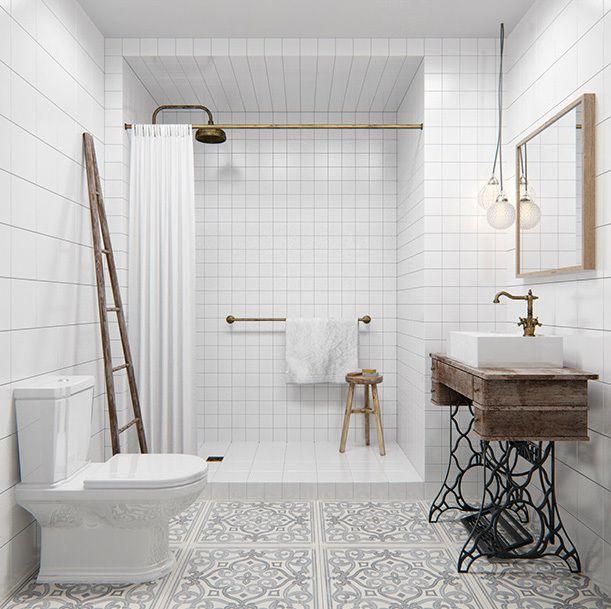 singer, carreaux gris et blancs, bois, cuivre = salle de bain originale