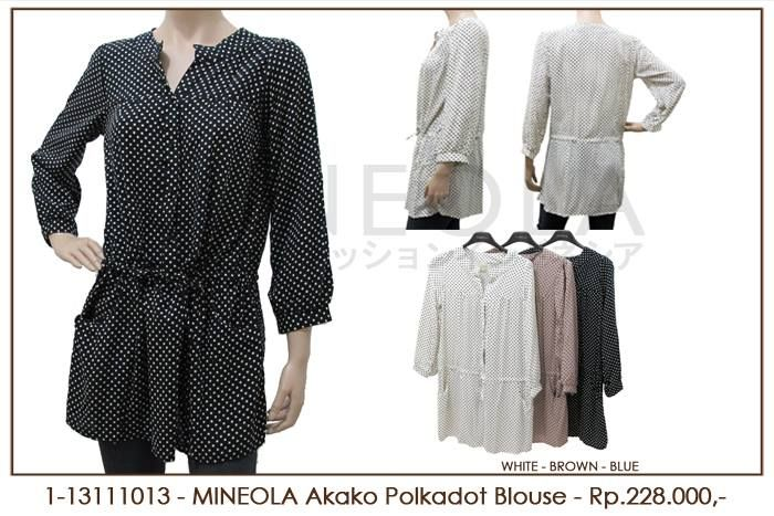 MINEOLA Akako Polkadot Blouse Black. Rp.228.000,- Fabrics: Rayon Cotton. Bust: 100cm - Length: 80cm - Sleeve: 53cm. Also available in white and brown color. Product code: 1-13111013  #MINEOLA #myMINEOLA #iWearMINEOLA #Fashion #OnlineShop #Indonesia #Jakarta #Dress #Blouse #Top #Pants #Skirt