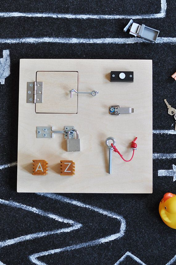 Kids Activity Board- I love this idea and will soon be visiting Re-Store to pick up supplies for a DIY verision! Could be big for hanging on the wall, or perhaps a small version to take along as a distraction for car rides/ boring shopping trips?!  Yep, totally making a couple of these :)