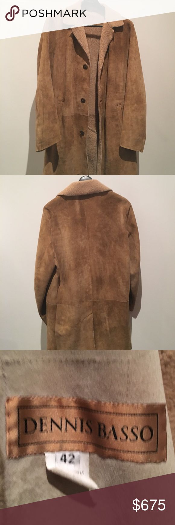 Dennis Basso Shearling Coat Tan Dennis Basso Shearling Coat featuring dual pockets at sides and button closures at front. Made in Italy. Dennis Basso Jackets & Coats