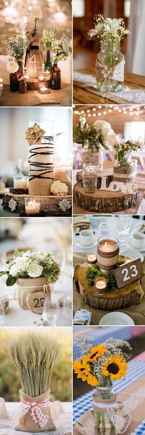 beautiful rustic wedding centerpieces decorated with burlap Shop for your rustic wedding at http://www.afloral.com/
