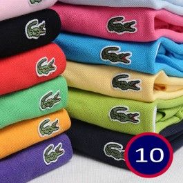 A Lot of 10 Men Polo Shirts Short Sleeve, Mix Order The Colors or Size