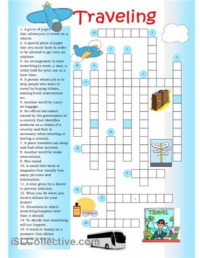 Crossword on traveling.