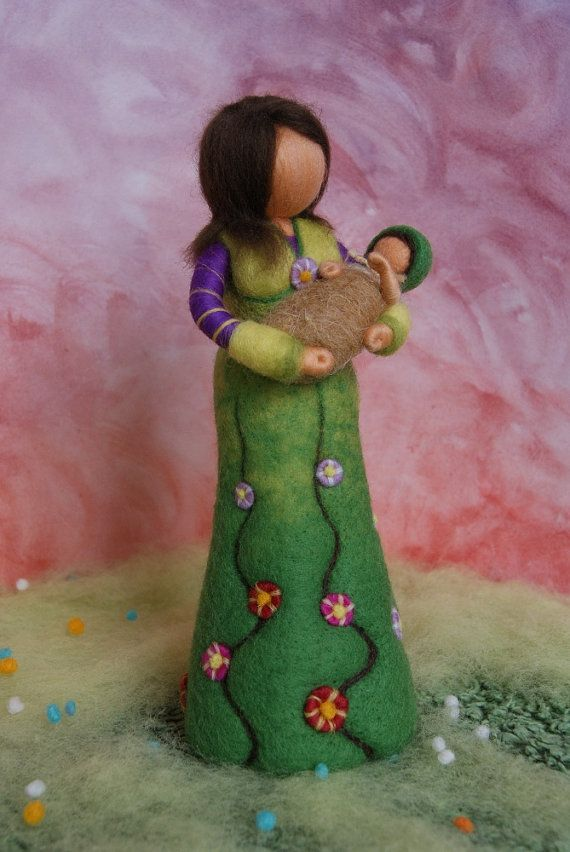 Mother with baby - personalized gift, felted, waldorf inspired, by Naturechild