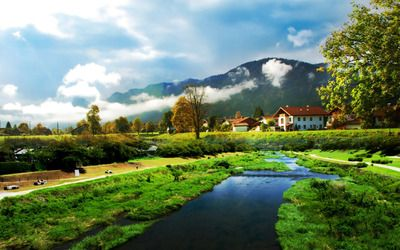 River by the village wallpaper
