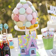 The House Idea: French macarons replicated balloons and floated above a miniature house inspired by Carl and Ellie's home.