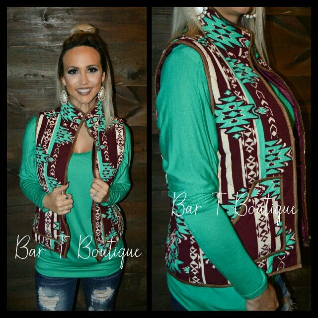 Maroon & Jade Aztec Vest ~ Follow @bar_t_boutique on Instagram to Shop Weekly New Arrivals!