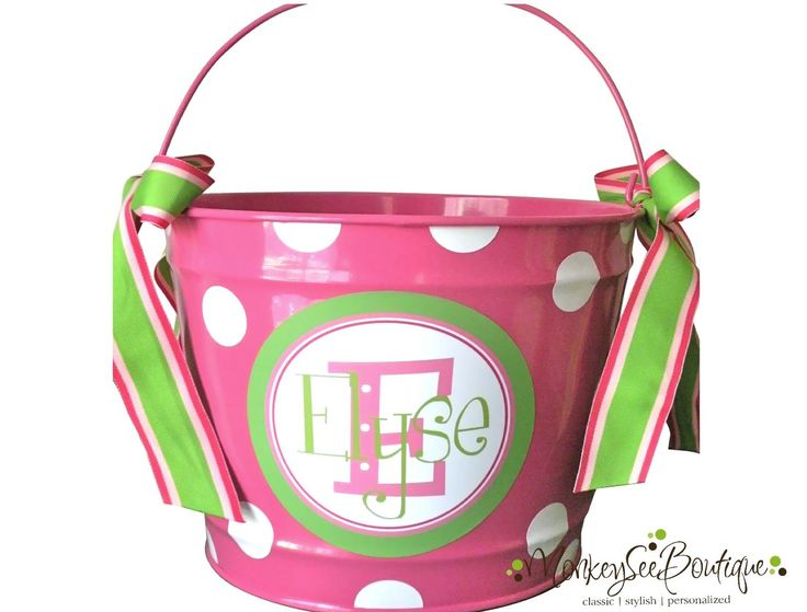 43 best easter buckets images on pinterest easter ideas more ideas custom 10 quart bucket with stacked name in pinks and greens 2800 via etsy easter basket negle Images