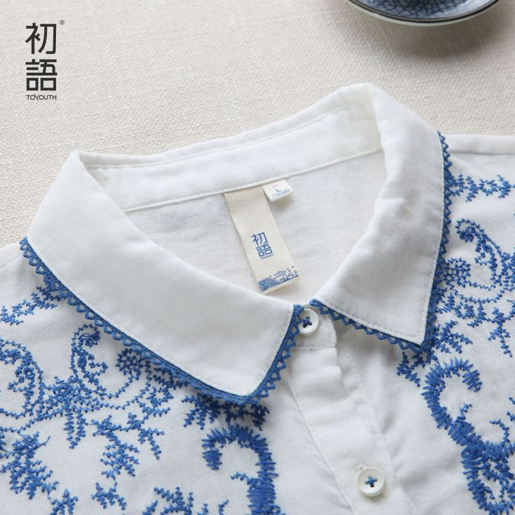 Toyouth Spring Autumn Women Blouses Embroidery Long Sleeve Turn-Down Collar Cotton 100% Shirts Ladies Formal Office Shirts