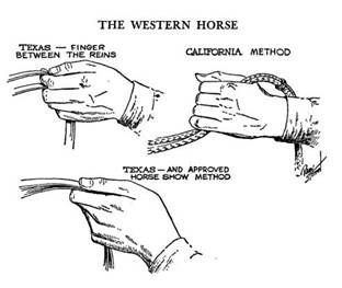 different ways of holding reins(western)