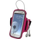 igadgitz Pink Reflective Anti-Slip Neoprene Sports Gym Jogging Armband for Samsung Galaxy S3 III i9300 Android Smartphone Cell Phone (Compatible with all carriers incl AT, Sprint Nextel, T-mobile & Verizon Wireless)