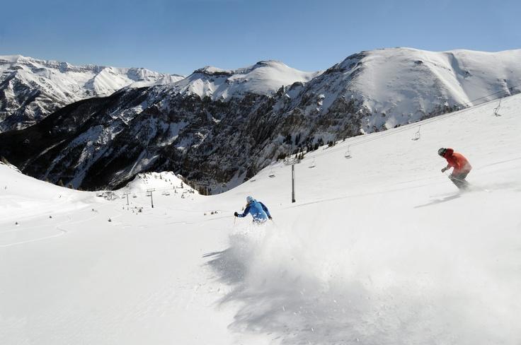 Charging Revelation Bowl at Telluride Ski Resort after some fresh powder! TellurideSkiResort.com