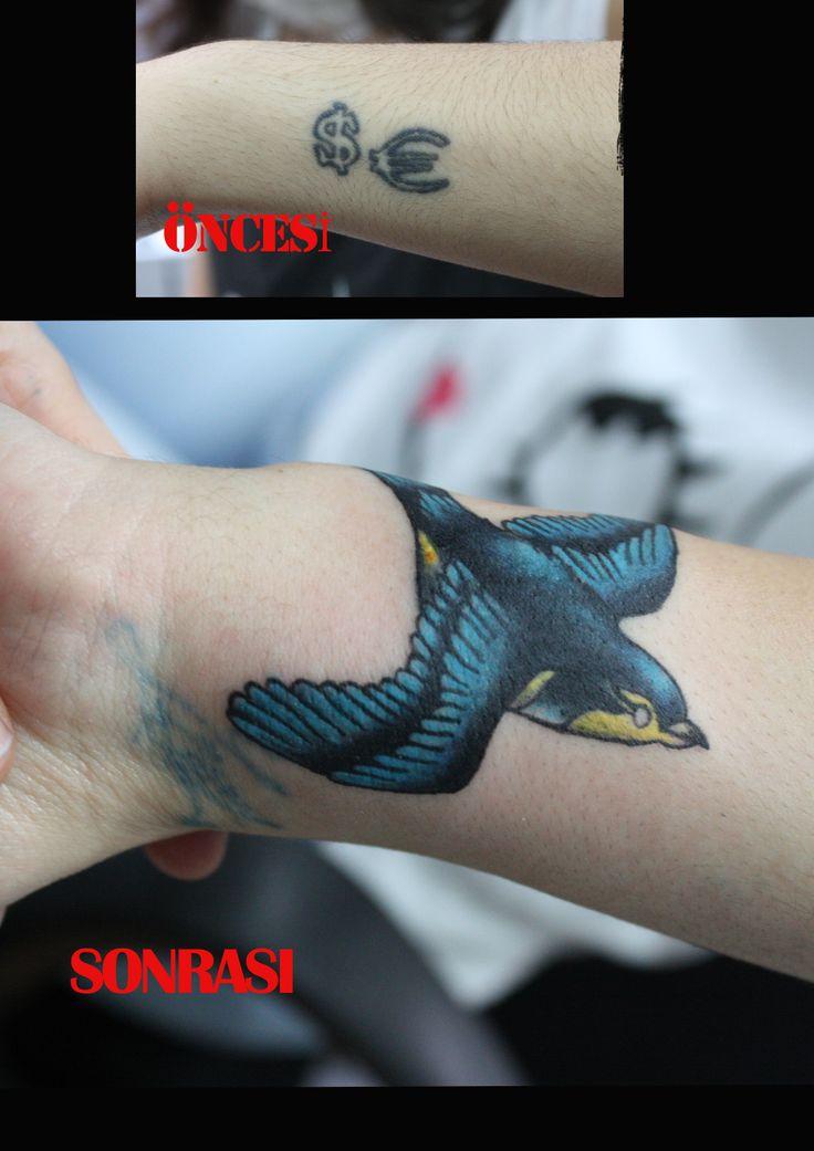 cover up tattoo,cennet kuşu, mavi kuş dövmesi,taksim dövme ,