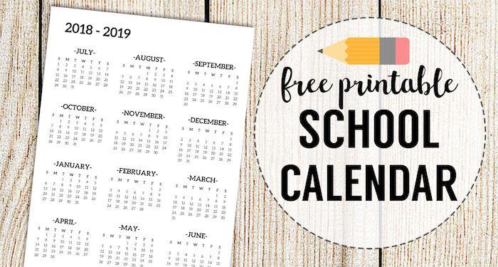 image regarding School Calendar -16 Printable named 2018-2019 College Calendar Printable Free of charge Template calendar