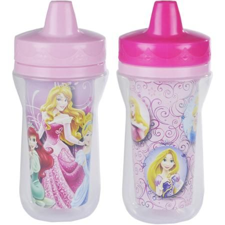 The First Years Disney Princess Insulated Sippy Cup with One Piece Lid- 9 oz, 2 pack