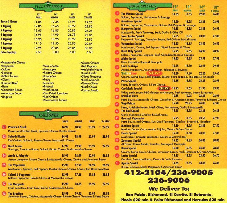 Americana Pizza & Taqueria, San Pablo, California - pizza menu page 1