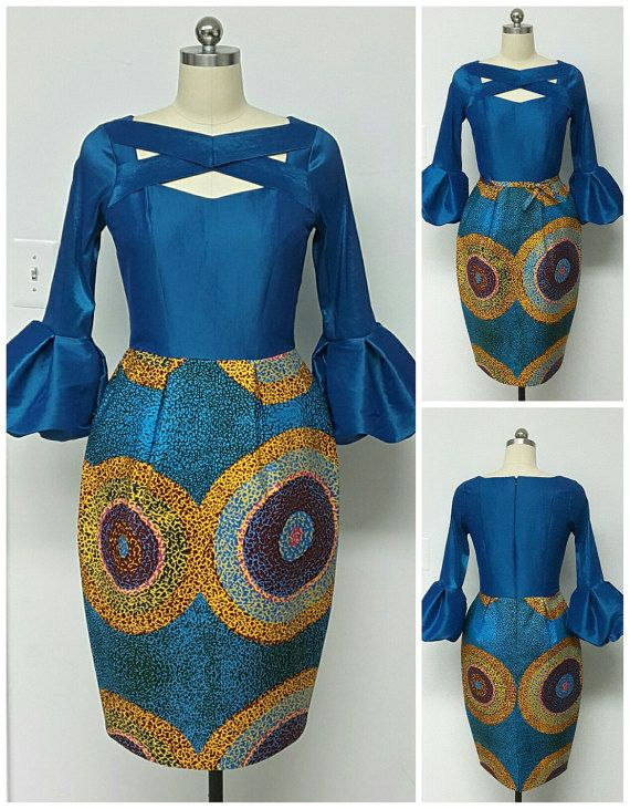 African Print Fitted Waist Tulip Dress. Inside by NanayahStudio