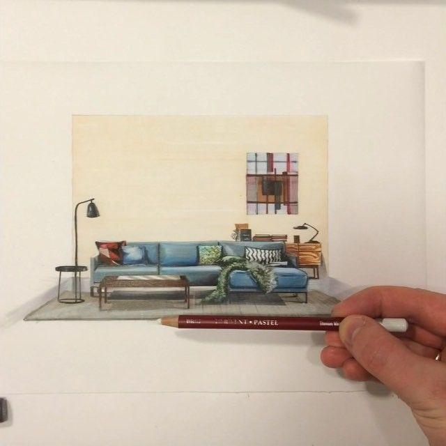 Продолжение начатого вчера видео  Стоп Снято!✌️ #sketch  диван компании #RolfBenz