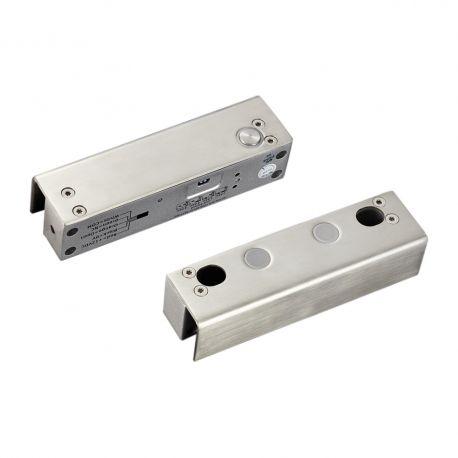Mini bolt electric YB-500U(LED). CARACTERISTICILE MINI BOLTULUI ELECTRIC YB-500U(LED) YB-500U(LED) este un mini bolt electric ce se monteaza la usi de sticla cu rama de sticla.  Utilizare: in sisteme de control acces,  Contine suport pentru usa si rama de sticla Consum: Actionare 900mA/12 Vcc, Standby 120mA/12 Vcc Dimensiuni:  Bolt: 150x40x37 mm