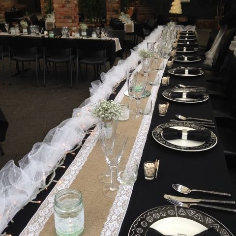Hessian & Lace Table Runners. Custom made, any length. Black & White.