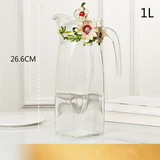 Red rose Enamel Crystal Flower Glass Teapot for Hot and Cold Drinks 1300ml Home