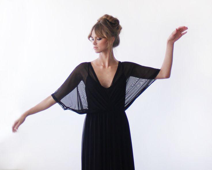 Black maxi sheer chiffon dress, with bat-wings sleeves by BLUSHFASHION on Etsy https://www.etsy.com/listing/197119378/black-maxi-sheer-chiffon-dress-with-bat