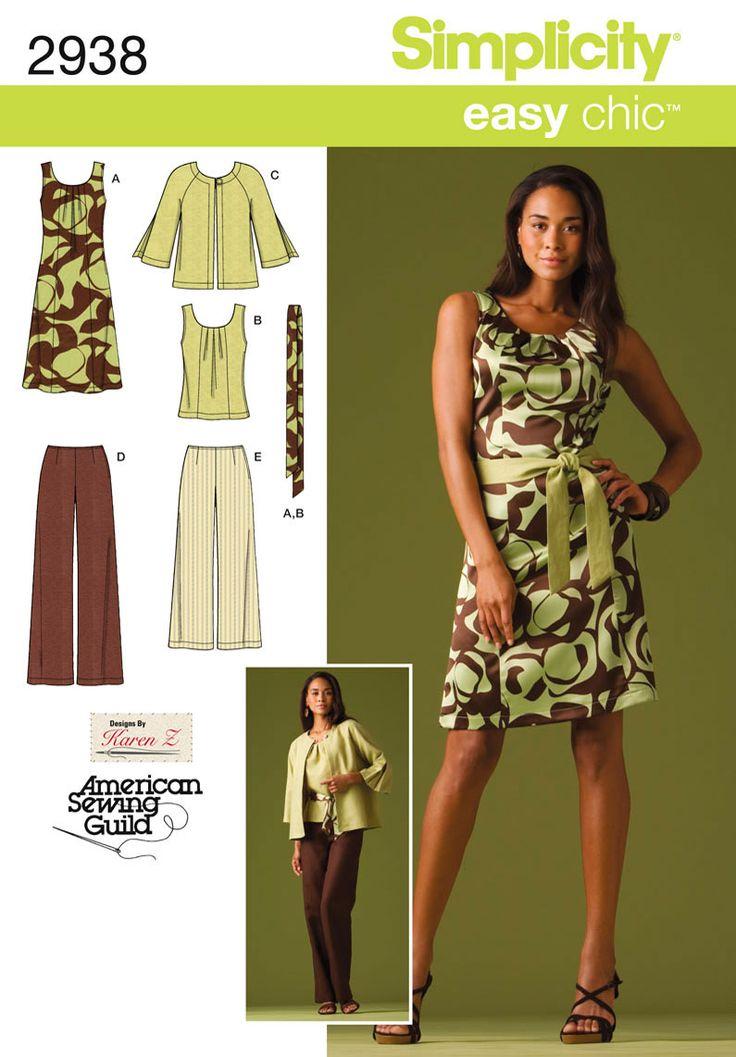 2938 Misses' & Plus Size Sportswear    Misses or Plus Size Dress, Top, Pants, Jacket and Tie Belt