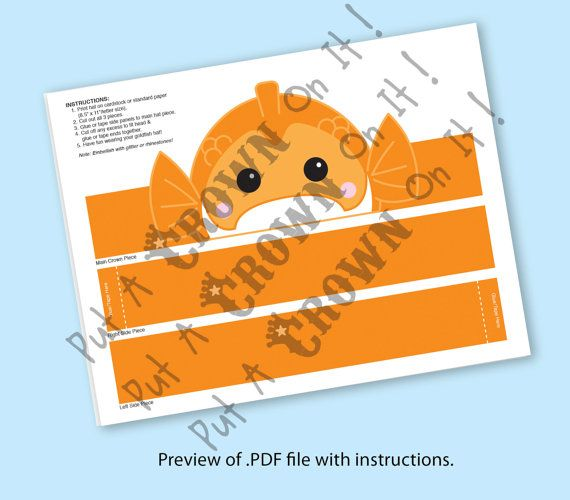 Goldfish Paper Crown Printable by PutACrownOnIt on Etsy