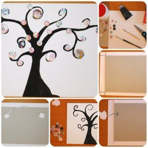 Creative tree painting with buttons canvas craft ideas