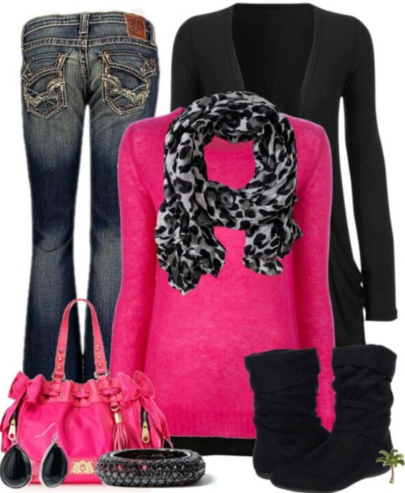 pink sweater jeans black slouch boots with black white and gray animal print scarf with a black jacket and black jewelry