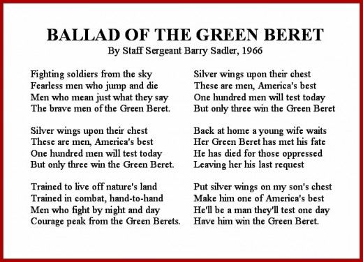 Ballad of the Green Beret Song Lyrics for Veteran's Day