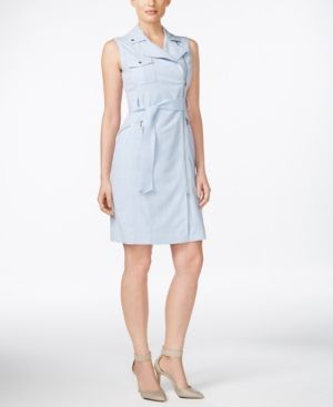 Calvin Klein Belted Asymmetrical-Zip Sheath Dress - Blue
