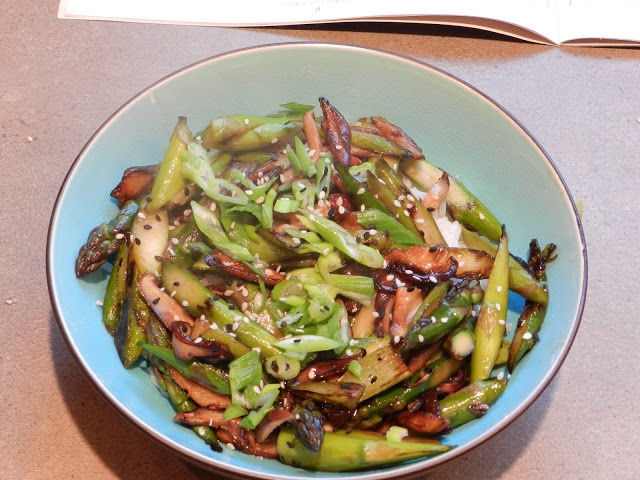 Stir-fried asparagus and shiitakes with toasted brown rice #vegetarian