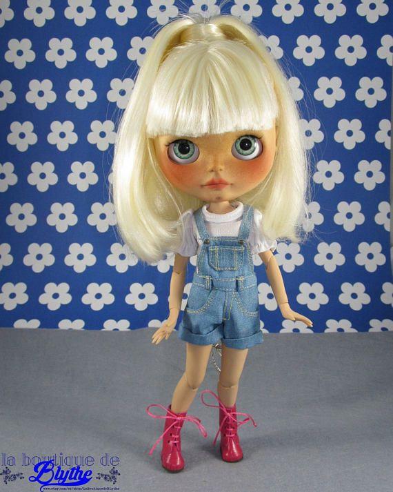 Růžové kožené boty Blythe panenky boty kožené růže pro