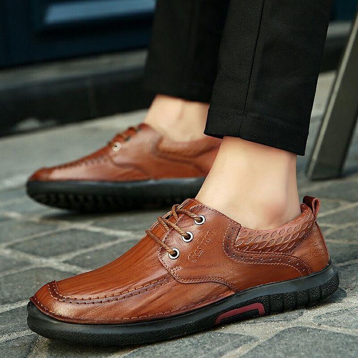 >> comprar aqui << Prelesty Inverno Novo Design Genuíno saco De Couro Dos Homens Sapatos de Couro Homens Lace Up Flats Black Brown Maduro Para Cavalheiros Zapatos Hombres